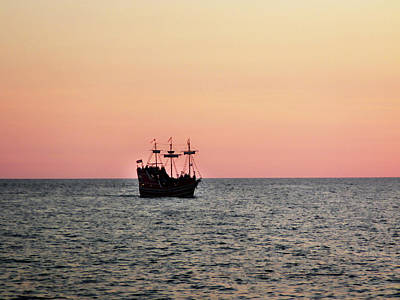 Tampa Bay Sunset 4 Pirate Ship Poster by Marilyn Hunt