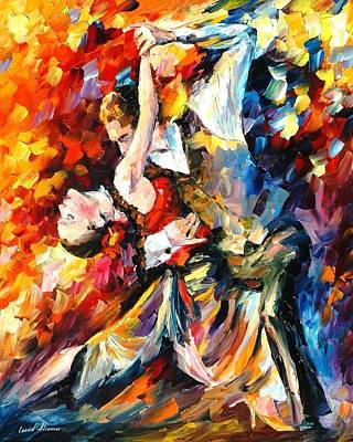 Tango In Paris - Palette Knife Oil Painting On Canvas By Leonid Afremov Poster by Leonid Afremov