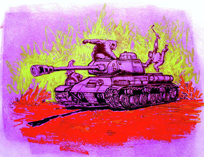 Tank Attack Poster by Sam Arneson