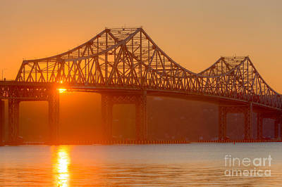 Tappan Zee Bridge At Sunset I Poster by Clarence Holmes