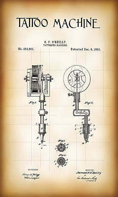 Tattooing Machine Patent 1891 Poster by Daniel Hagerman
