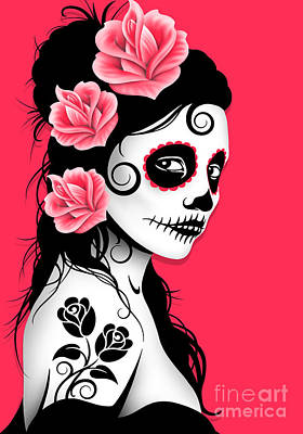 Tattooed Day Of The Dead Sugar Skull Girl Pink Poster by Jeff Bartels