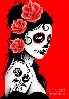 Tattooed Day Of The Dead Sugar Skull Girl Red Poster by Jeff Bartels