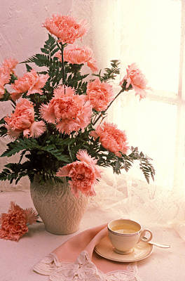 Tea Cup With Pink Carnations Poster by Garry Gay
