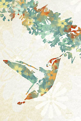 Teal Floral Hummingbird Art Poster by Christina Rollo