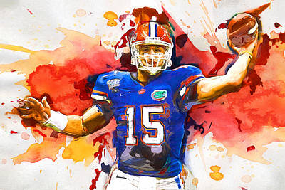 Tebow Splash Td Poster by John Farr