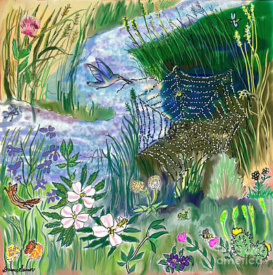 Teen Drawing -- Hummingbird Collecting Silk Poster by Dawn Senior-Trask