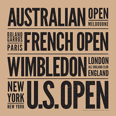Tennis Grand Slams Poster by Mark Brown