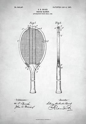 Tennis Racket Patent 1907 Poster by Taylan Apukovska