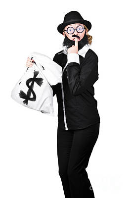 Tensed Woman Holding Money Bag Poster by Jorgo Photography - Wall Art Gallery