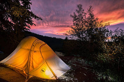 Tent At Sunset Poster by Michael J Bauer