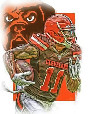 Terrelle Pryor Cleveland Browns Oil Art Poster by Joe Hamilton