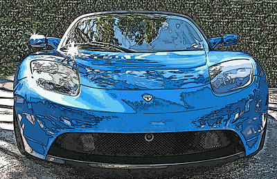 Tesla Roadster Electric Sports Car Poster by Samuel Sheats
