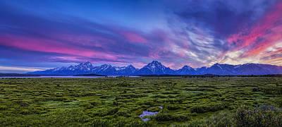 Teton Sunset Panorama Poster by Andrew Soundarajan