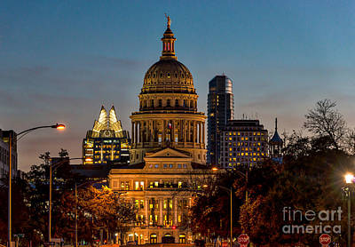 Texas Capital At Twilight Poster by Tod and Cynthia Grubbs