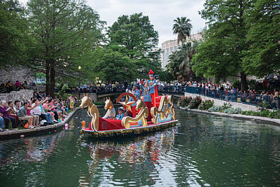 Texas Cavaliers River Parade On The San Antonio River Poster by Carol M Highsmith