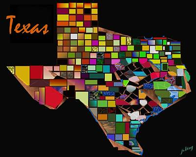 Texas Map Counties Poster by Jacquie King