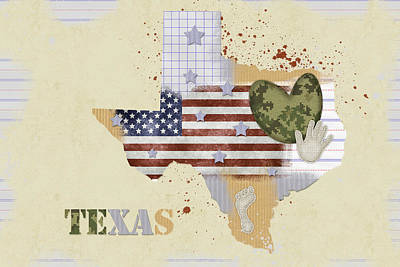 Texas Mixed Media Map Poster by Mihaela Pater