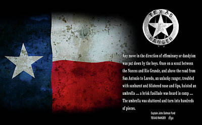 Texas Rangers Quote On Effeminacy And Dandyism  1890 Poster by Daniel Hagerman