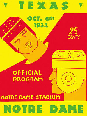 Texas Vs Notre Dame 1934 Program Poster by Big 88 Artworks