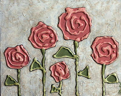 Texture Blooms In Antique Rose Poster by Stewalynn Art