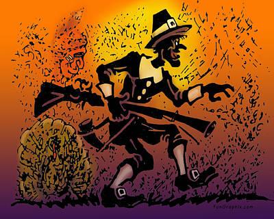 Thanksgiving Pilgrim Poster by Kevin Middleton