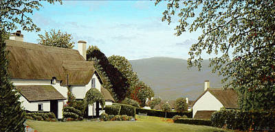 Thatched Cottages At Selworthy, Somerset Poster by Mark Woollacott