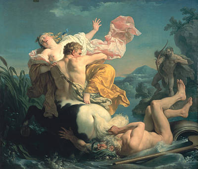 The Abduction Of Deianeira By The Centaur Nessus Poster by Louis Jean Francois Lagrenee