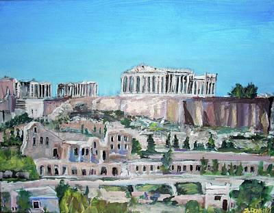 The Acropolis Hills Poster by Teresa Dominici