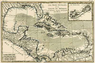 The Antilles And The Gulf Of Mexico Poster by Guillaume Raynal