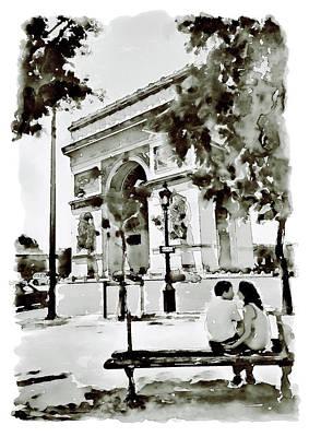 The Arc De Triomphe Paris Black And White Poster by Marian Voicu