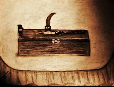 The Artists Pencil Box And Ink Well And Pen Poster by Debra Lynch