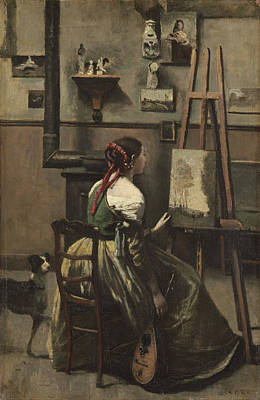 The Artists Studio Poster by Jean-baptiste-camille Corot