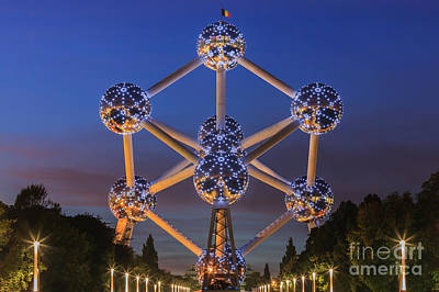 The Atomium In Brussels During Blue Hour Poster by Henk Meijer Photography
