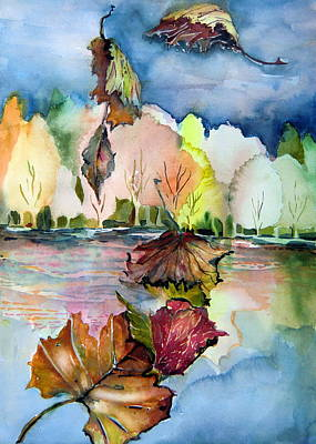 The Autumn Leaves Drift By My Window Poster by Mindy Newman
