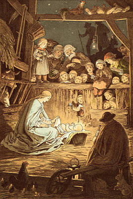 The Babe Lying In A Manger  Poster by Victor Paul Mohn