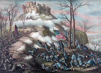 The Battle Of Lookout Mountain Poster by American School