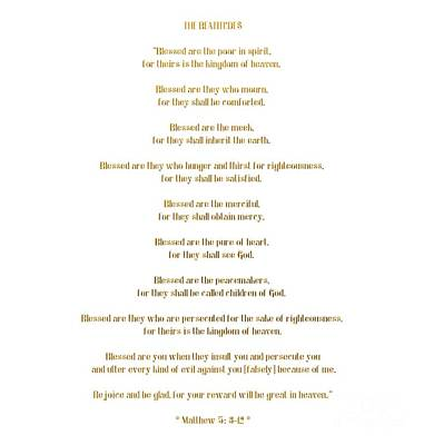 The Beatitudes Gospel Of Matthew Poster by Rose Santuci-Sofranko