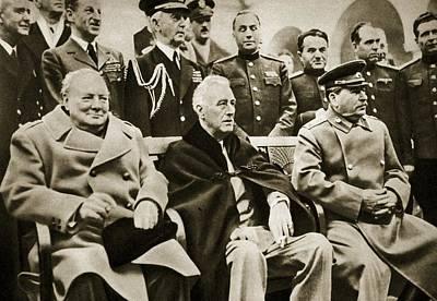 The Big Three At Yalta Poster by English School