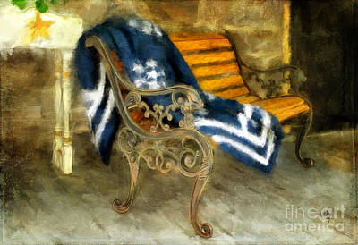 The Blue Quilt On The Bench Poster by Lois Bryan
