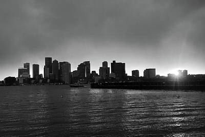 The Boston Skyline At Sunset From East Boston Black And White Poster by Toby McGuire