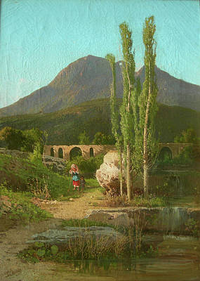 The Bridge Of Cava Dei Tirreni In The Background Poster by MotionAge Designs