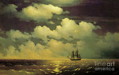 The Brig Mercury After Defeating Two Turkish Ships Of The Russian Squadron Poster by Ivan Aivazovsky