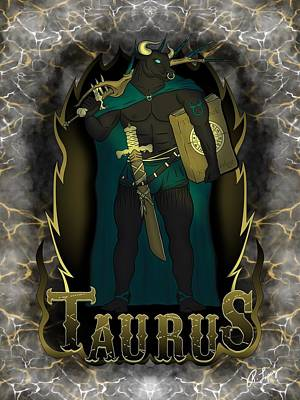 Poster featuring the drawing The Bull - Taurus Spirit by Raphael Lopez