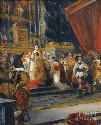 The Cardinal De Richelieu Saying Mass In The Church Of The Palais Royal Poster by Celestial Images