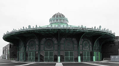 The Carousel House Asbury Park Nj Green Poster by Terry DeLuco