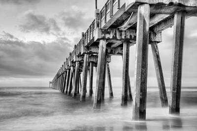 The Casino Beach Pier In Black And White Poster by JC Findley