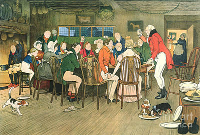 The Christmas Dinner At The Inn Poster by Cecil Charles Windsor Aldin