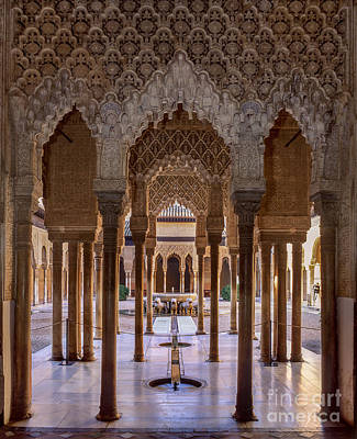 The Court Of The Lions Alhambra Palace Poster by Guido Montanes Castillo