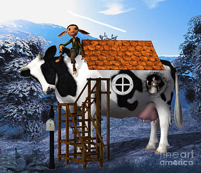 The Cow House Poster by Jutta Maria Pusl